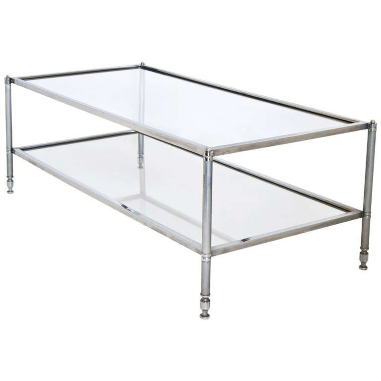 French vintage chrome and glass coffee table at 1stdibs for French glass coffee table