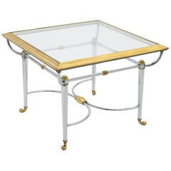 French Vintage Jansen Style Chrome and Brass Side Table