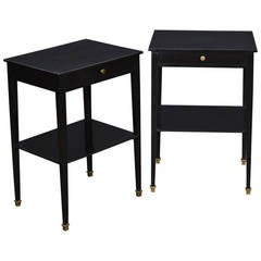 French Directoire Style Ebonized Side Tables