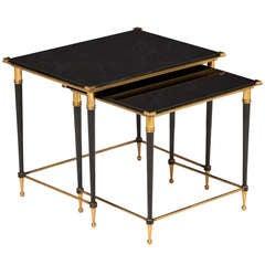Pair of Black Glass & Brass Nesting Tables