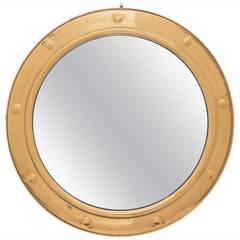 French Vintage Convex Gilt Brass Framed Mirror, circa 1940s