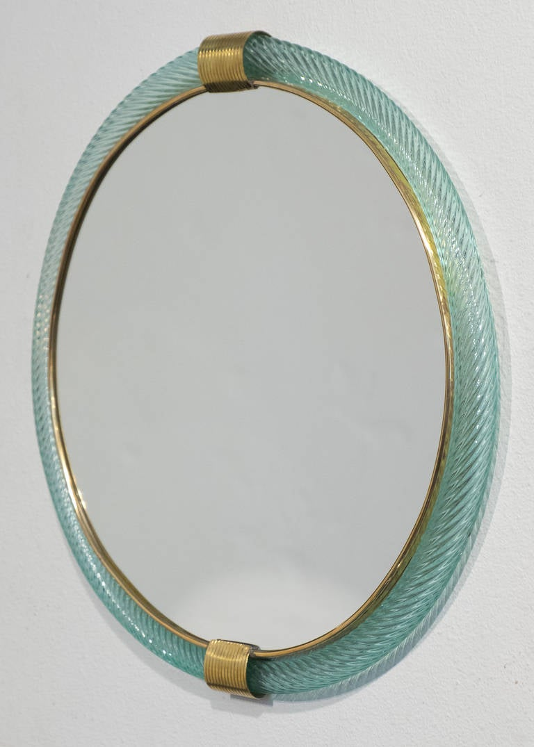 murano glass rope round mirror late 20th century at 1stdibs. Black Bedroom Furniture Sets. Home Design Ideas