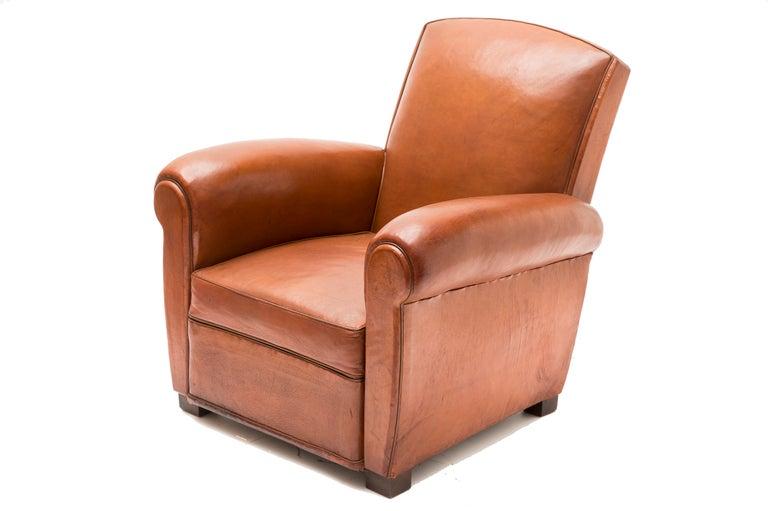 art deco lambskin leather club chair at 1stdibs