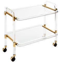 French Vintage Lucite & Brass Bar Cart