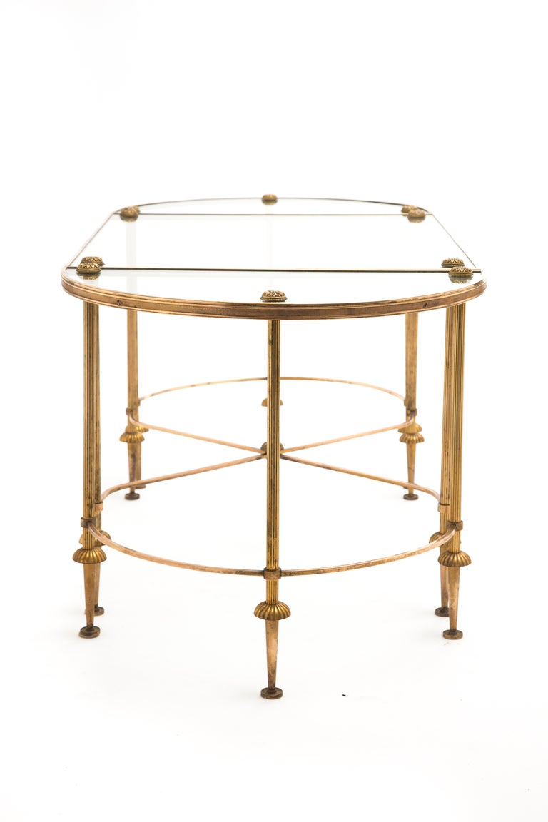 Maison bagues brass and glass coffee table set at 1stdibs One piece glass coffee table