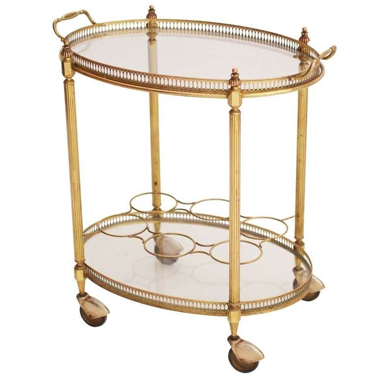 French Art Deco Oval Brass Bar Cart At 1stdibs