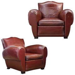 French Art Deco Mahogany Red Club Chairs