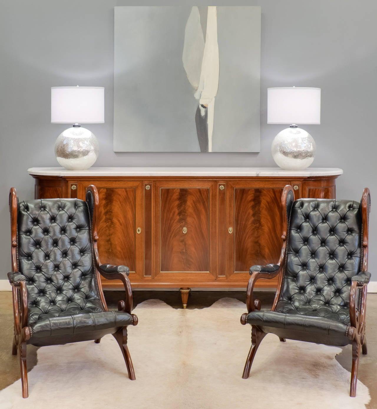 Louis xvi style carrara marble top cuban mahogany for Sideboard 120