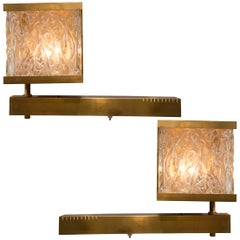 French Vintage Stamped Glass and Brass Sconces with Pivoting Arm