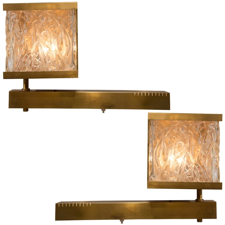 French Vintage Stamped Glass and Brass Sconces with Pivoting Arm For Sale