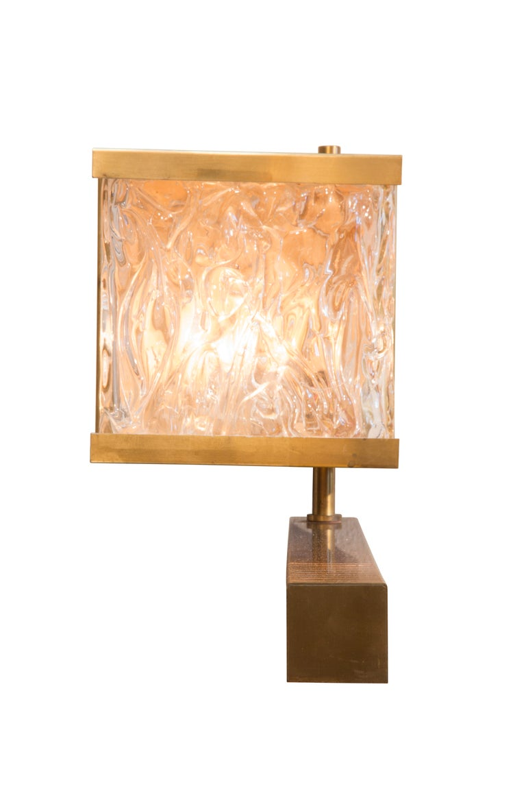 Mid-Century Modern French Vintage Stamped Glass and Brass Sconces with Pivoting Arm For Sale
