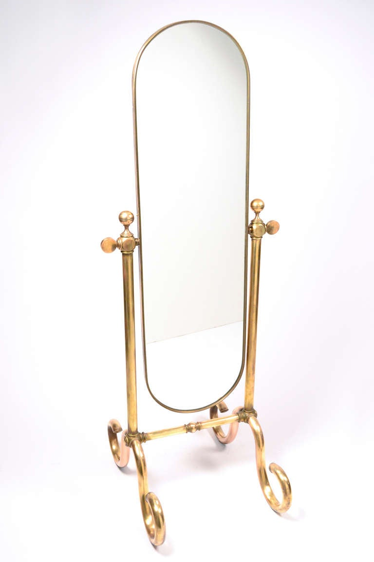 Italian Vintage Psyche Solid Brass Mirror At 1stdibs
