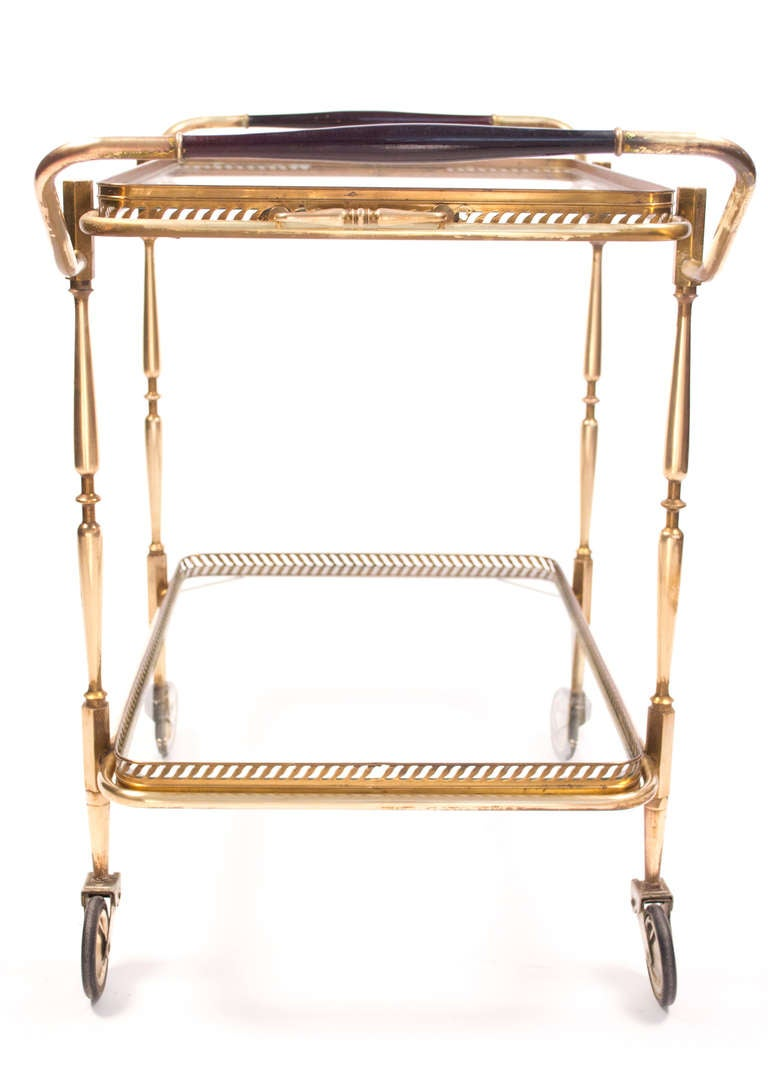 Vintage Brass and Mahogany Bar Cart with Trays at 1stdibs