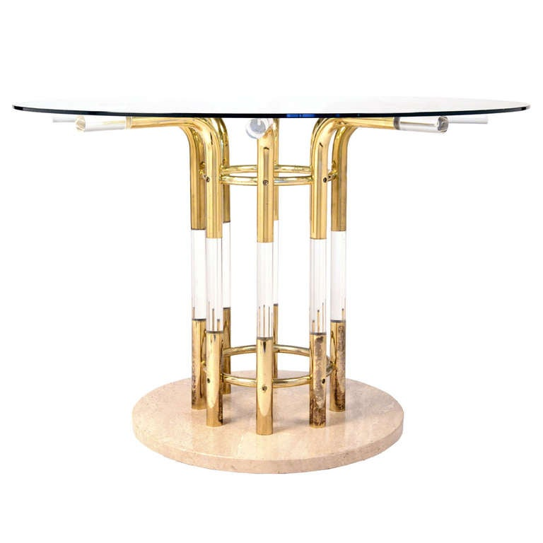 French Vintage Lucite & Gilt Brass Dining Table