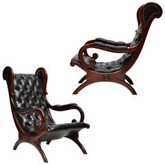 Vintage Leather and Mahogany Wingback Lounge Chairs