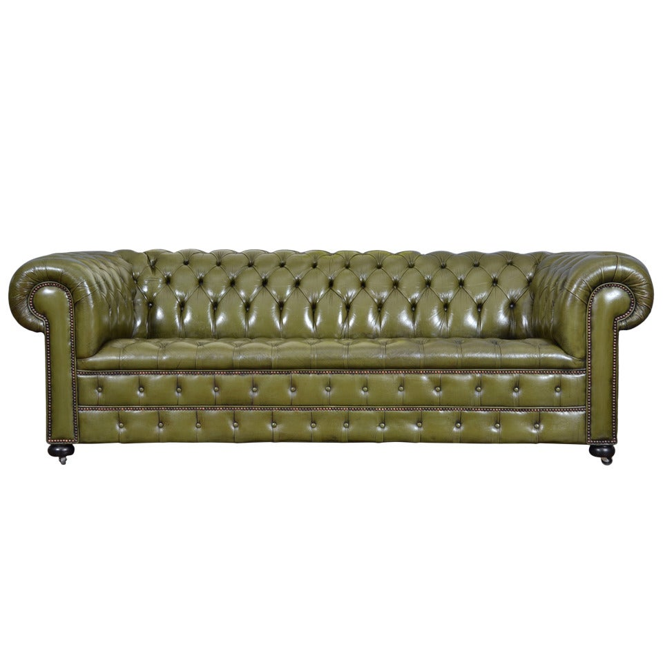 Vintage english olive green leather chesterfield sofa at 1stdibs Leather chesterfield loveseat