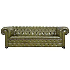 Vintage English Olive Green Leather Chesterfield Sofa
