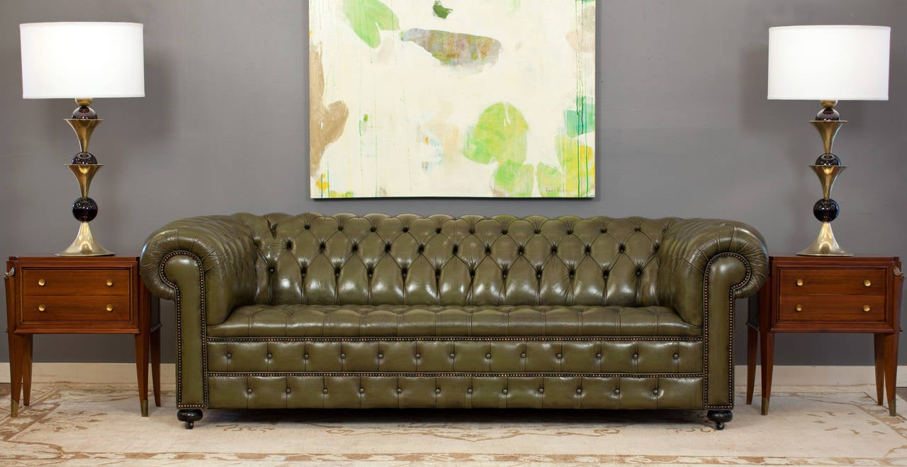 Vintage English Olive Green Leather Chesterfield Sofa 2