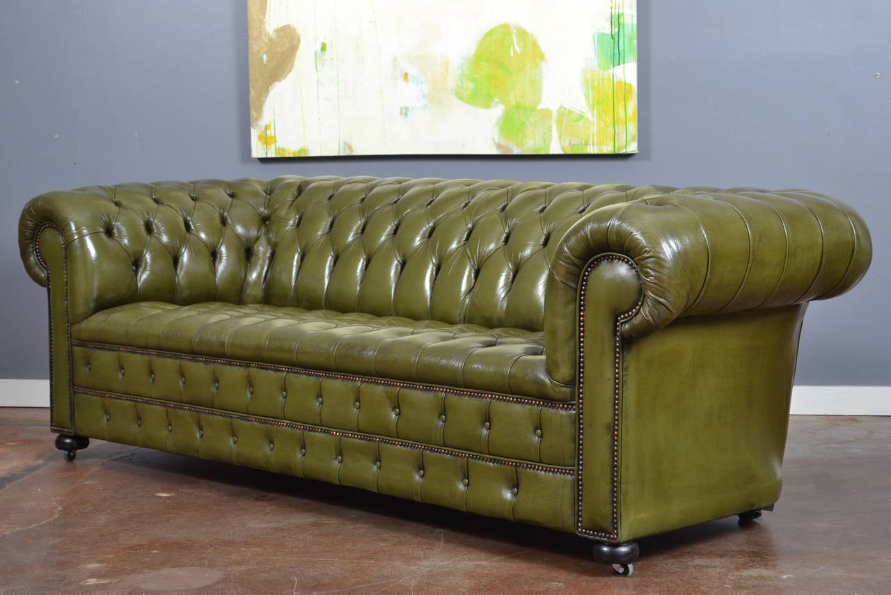 Vintage English Olive Green Leather Chesterfield Sofa at 1stdibs