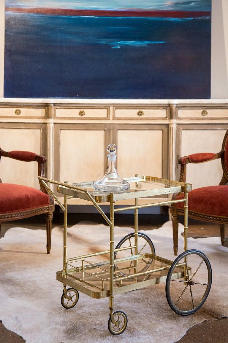 vintage maison bagues brass and glass bar cart at 1stdibs. Black Bedroom Furniture Sets. Home Design Ideas