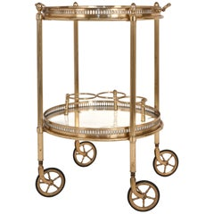 Vintage Round Brass & Glass Bar Cart