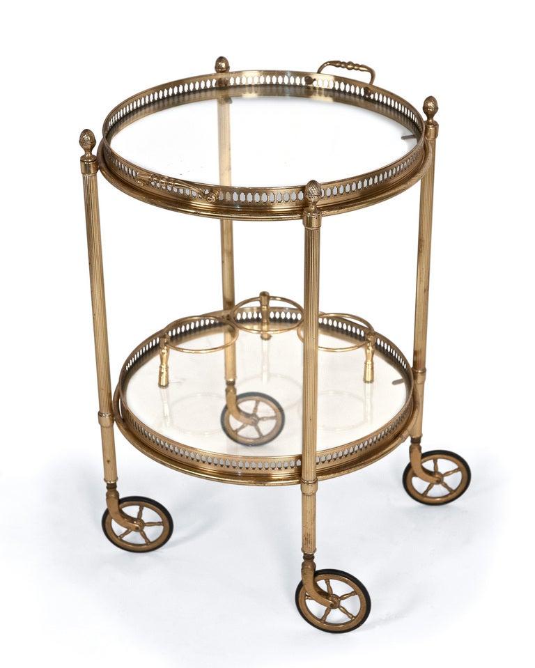 vintage round brass and glass bar cart at 1stdibs. Black Bedroom Furniture Sets. Home Design Ideas