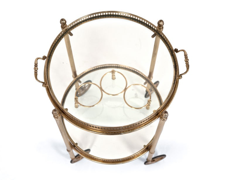 Vintage Round Brass And Glass Bar Cart At 1stdibs