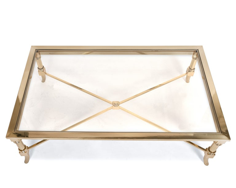 French Maison Jansen Brass & Glass Coffee Table 3 - French Maison Jansen Brass And Glass Coffee Table At 1stdibs