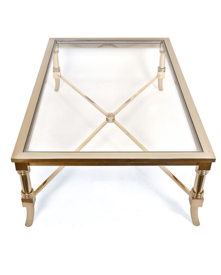 French maison jansen brass and glass coffee table at 1stdibs Antique brass coffee table
