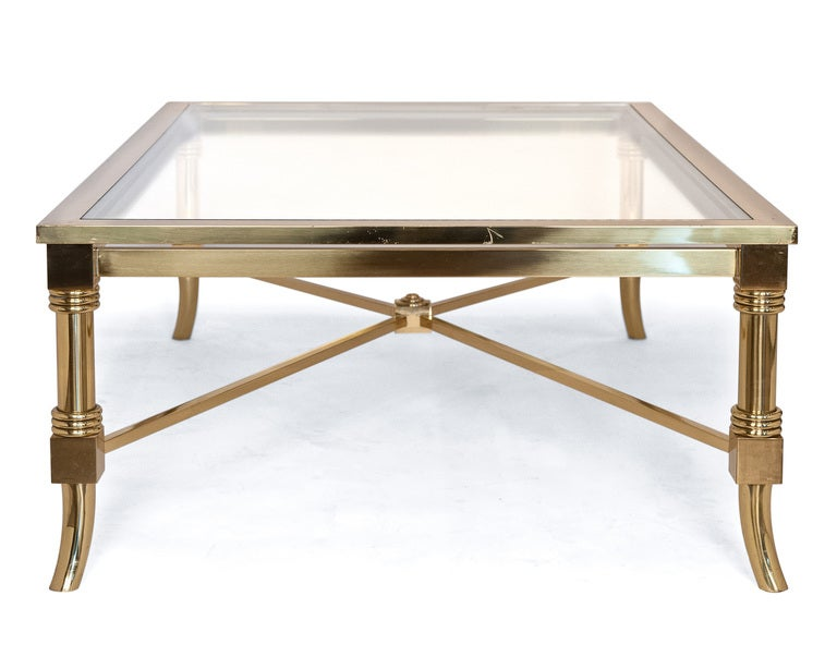 French Maison Jansen Brass And Glass Coffee Table At 1stdibs