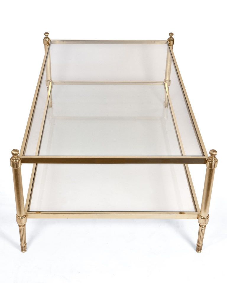 Maison jansen brass and glass coffee table at 1stdibs Antique brass coffee table