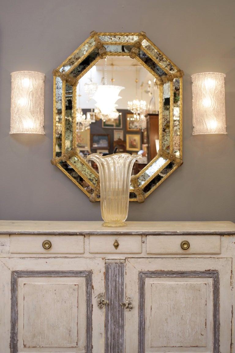 Octagonal Venetian Glass Mirror At 1stdibs