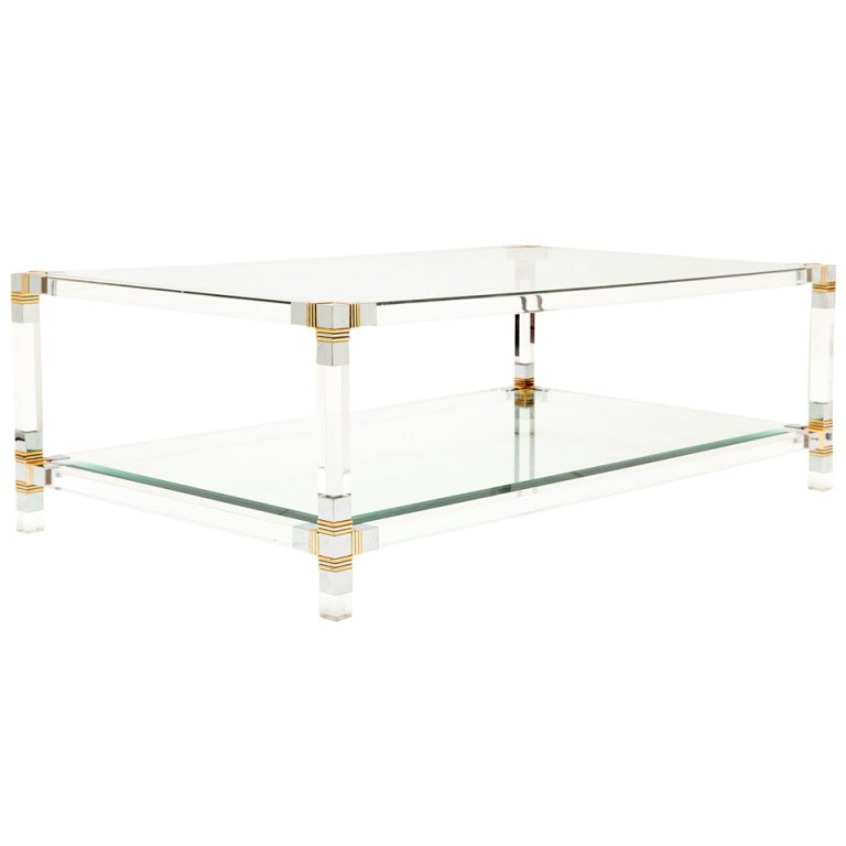 French vintage lucite chrome and brass coffee table at for Lucite and brass coffee table