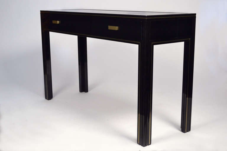 pierre vandel paris black glass console table at 1stdibs. Black Bedroom Furniture Sets. Home Design Ideas