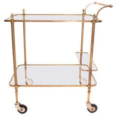 French Vintage Brass & Glass Bar Cart