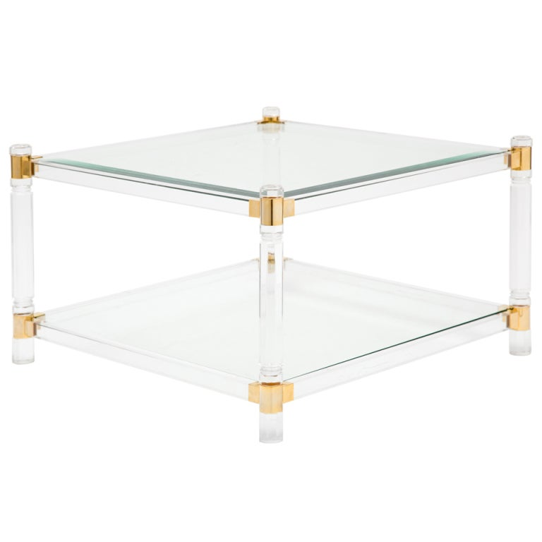 french vintage lucite, brass and glass coffee table at 1stdibs