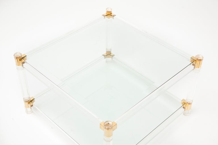French Vintage Lucite, Brass & Glass Coffee Table 4
