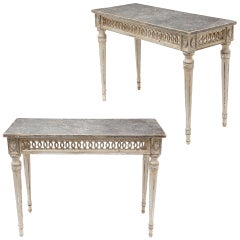 Italian Pair of Antique Silver Leaf Console Tables from Florence