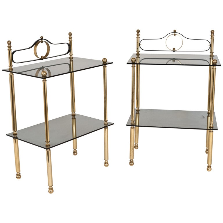 1stdibs Brass Smoked Glass French Console Table: French Vintage Gilt Brass And Smoked Glass End Tables At
