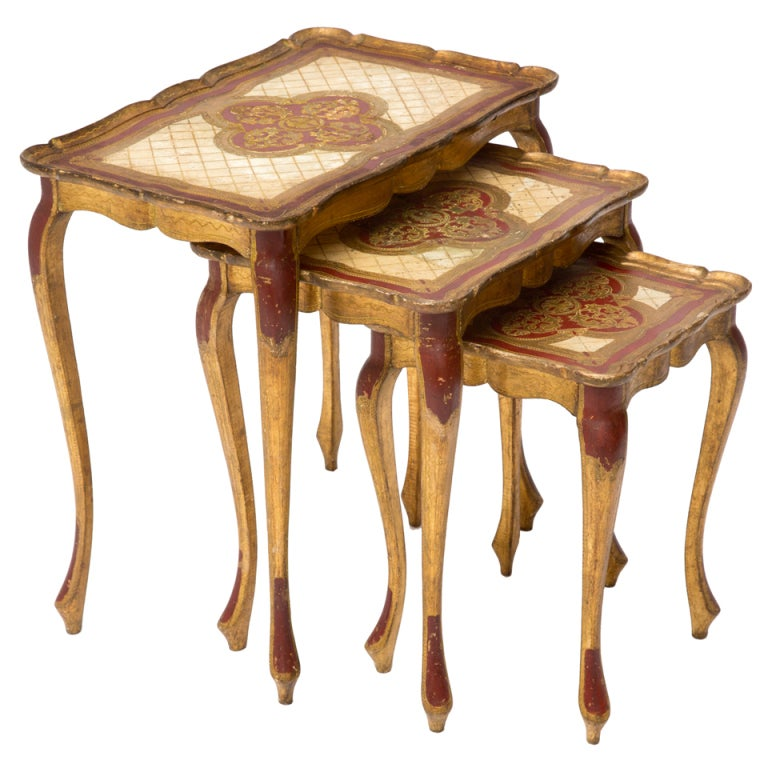 Venetian Set of Painted Nesting Tables