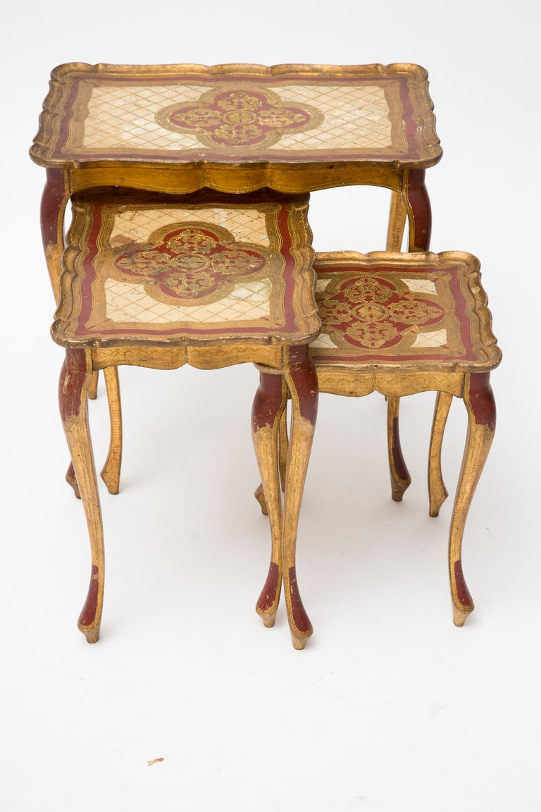 Venetian Set of Painted Nesting Tables image 4