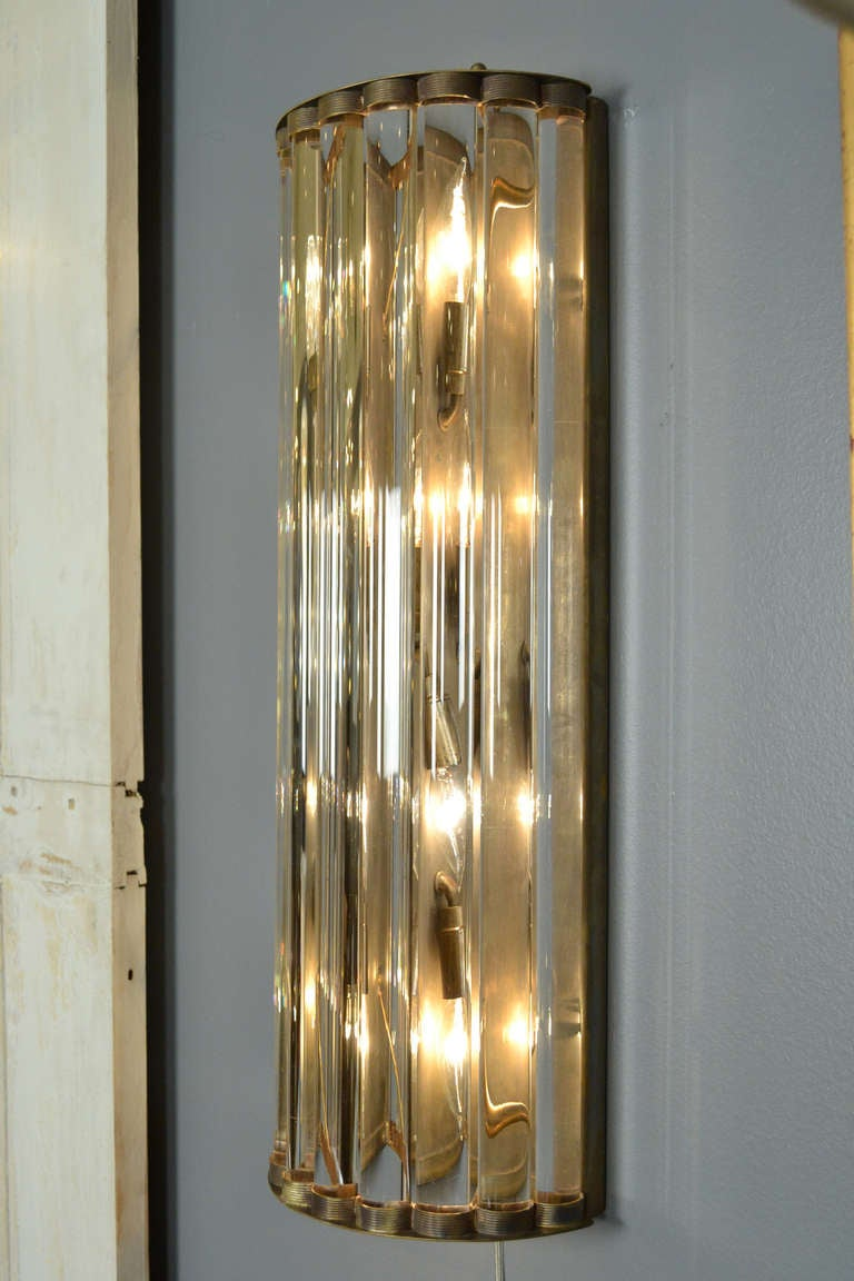 Glass Tube Wall Lights : Pair of Murano Glass Tube and Brass Sconces at 1stdibs