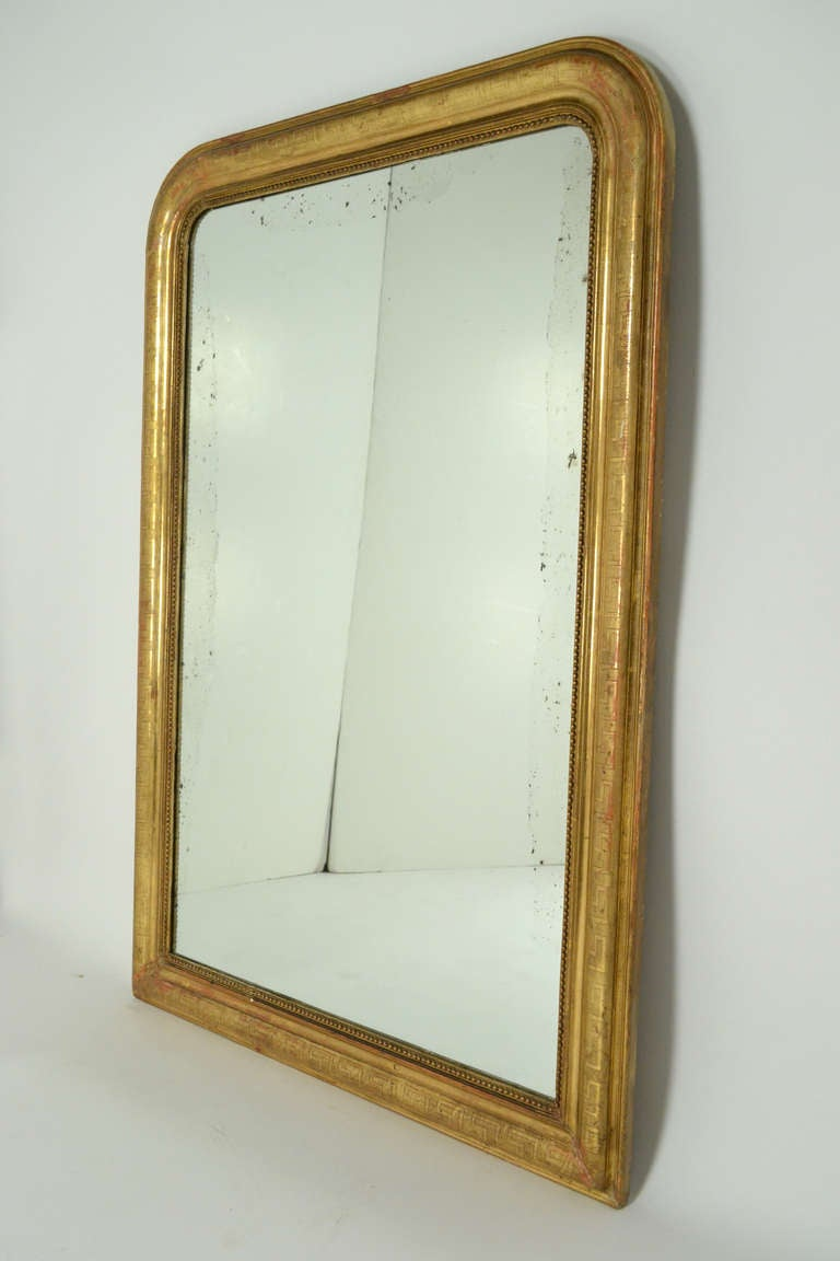 French louis philippe greek key gold leafed mirror at 1stdibs french louis philippe greek key gold leafed mirror in good condition for sale in austin jeuxipadfo Choice Image