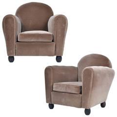 Vintage Pair of Mohair Velvet Club Chairs
