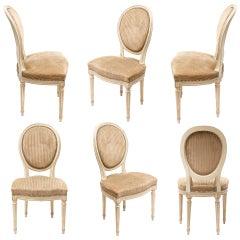 Set of 6 Louis XVI Painted Dining Chairs