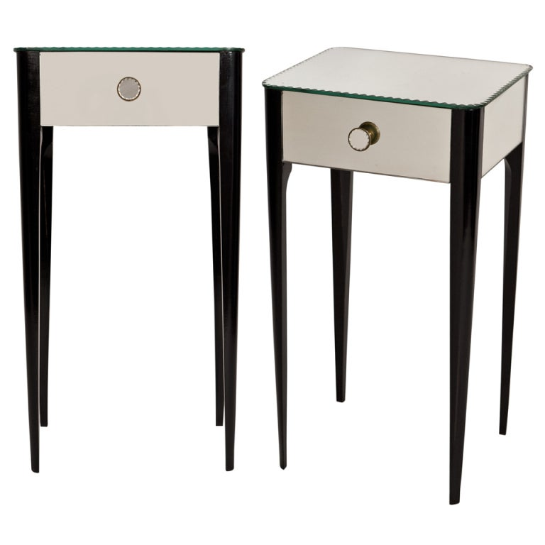 Pair Of Art Deco Mirrored Side Tables At 1stdibs
