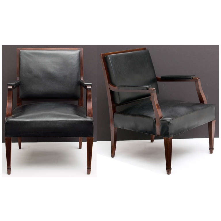 French Vintage Pair of Armchairs in the Manner of Jacques Adnet 3