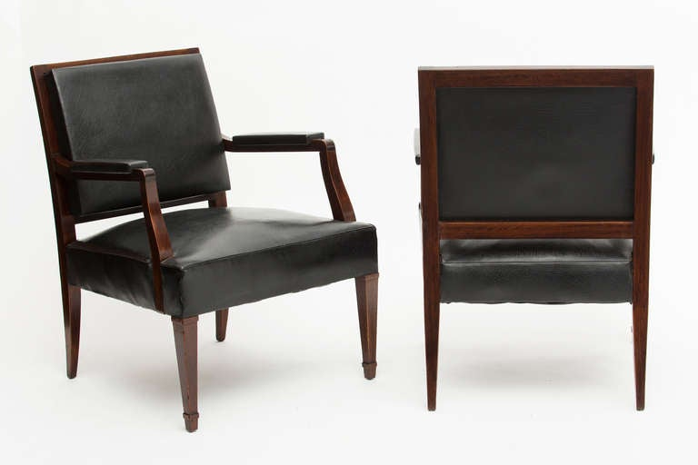French Vintage Pair of Armchairs in the Manner of Jacques Adnet 4
