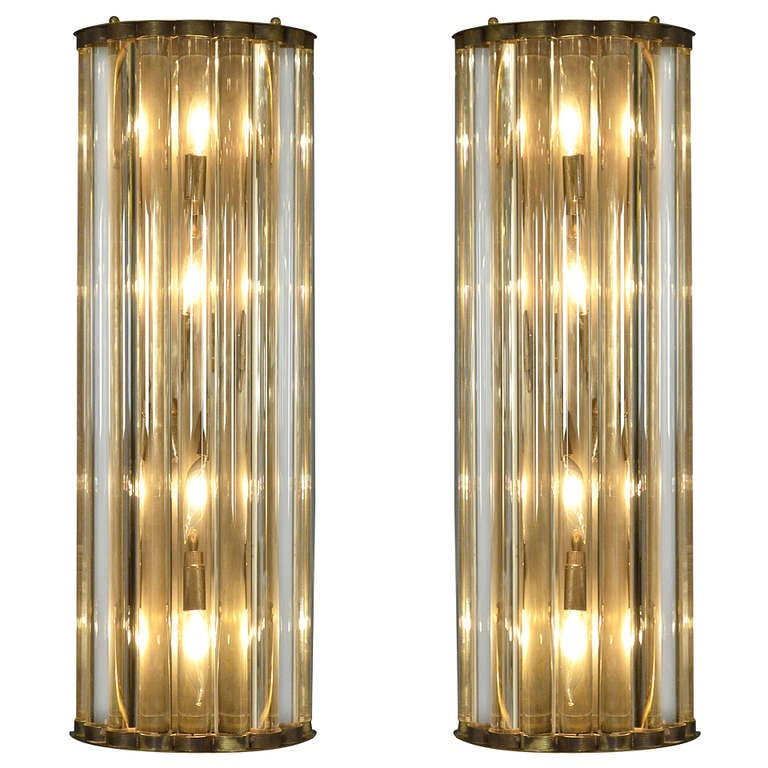 Pair of Murano Glass Tube and Brass Sconces
