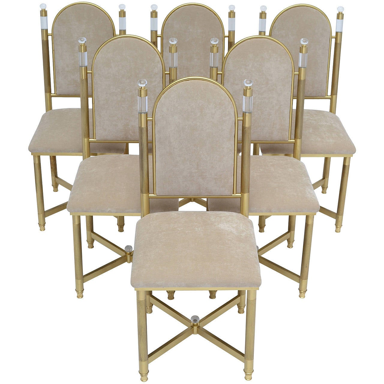 Maison Valenti Brass And Lucite Dining Chairs At 1stdibs